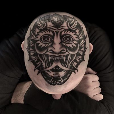 Tattoo by Austin Maples #AustinMaples #satantattoos #satan #devil #demon #hell #death #blackwork #scalp #headtattoo #traditional