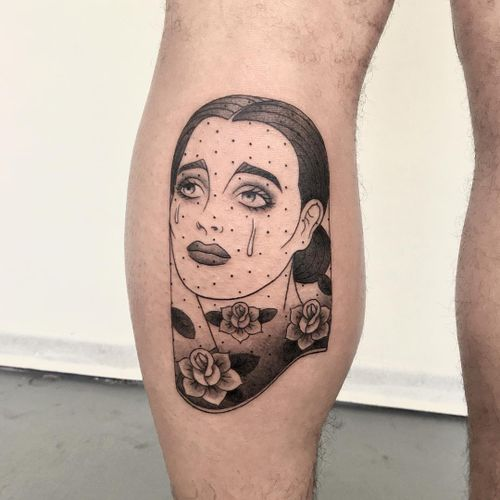 Tattoo by James Lauder #JamesLauder #MrLauder #illustrative #popart #rose #flower #tear #cry #veil #ladyhead #portrait