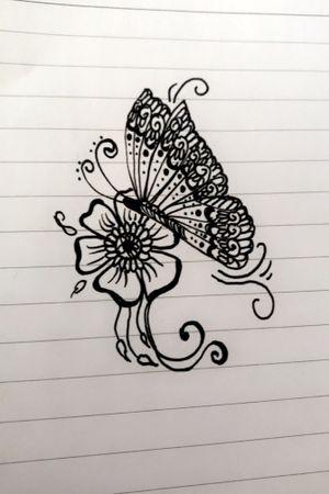 Butterfly mehndi tattoo design #mehndi #henna #hennatattoo #hennaart