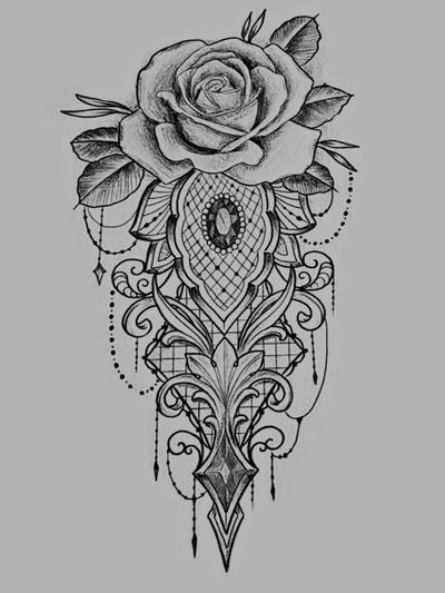 #Rosa #Rose #Ross #drawtattoo #draw #desing #Gemas #ruby #blackworktattoo #blackandgrey was the inspiration to create my second tattoo) Jerry Atlantic Coast Tattoo