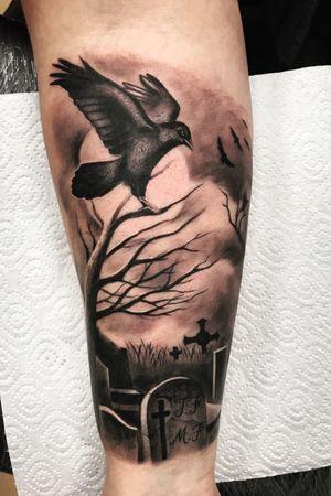 #bngtattoo #blackandgrey #raven #inked