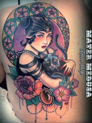 20's diva #artnouveau #catlady #blackcat #claudiaducalia #matermedusa #tattoodoambassador