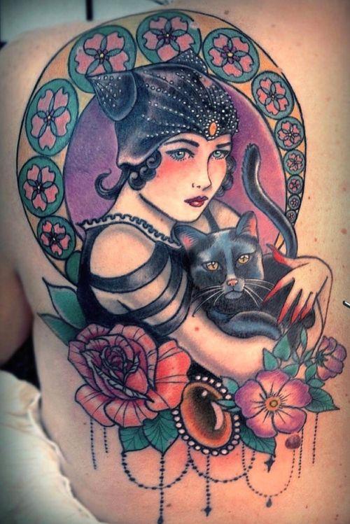 20's Diva #artnouveau #newtraditional #catlady #blackcat #tattoodoambassador #claudiaducalia #matermedusa
