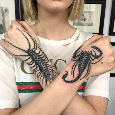 Tattoo by Lipa #Lipa #scorpiontattoos #scorpion #animal #nature #blackwork #illustrative #centipede #insect