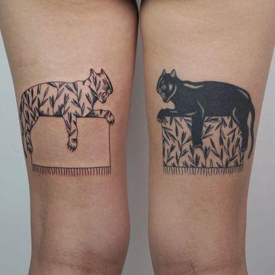 Tattoo by Anny aka Krause Tattoo #Anny #KrauseTattoo #matchingtattoos #pairtattoos #pairs #matching #tiger #panther #junglecat #cat #blackwork #illustrative