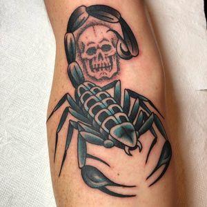 Tattoo by Frankie Caraccioli aka Death Cloak #FrankieCaraccioli #DeathCloak #scorpiontattoos #scorpion #animal #nature #color #blue #traditional #scorpion