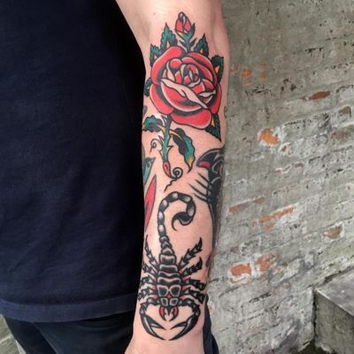 Tattoo by Eli Quinters #EliQuinters #scorpiontattoos #scorpion #animal #nature #rose #flower #floral #traditional #color