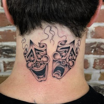 Tattoo by Jason Ochoa #JasonOchoa #matchingtattoos #pairtattoos #pairs #matching #payaso #masks #comedy #drama #blackandgrey #fineline #smile #cry #chicano