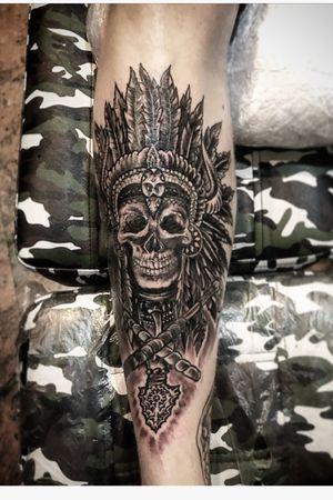 IndianSkullPowerTattoo' by FerryBoom #BoomInk #cooltattoos #greattattoo #tattoooftheday #folowme #skull #skulltattoos #skateandcreate #Amsterdam #zandvoort #rotterdam #rockon🤙🏽