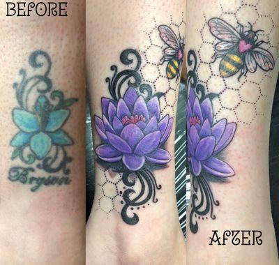 Cover up rework #purple #waterlily #honeybee #bee