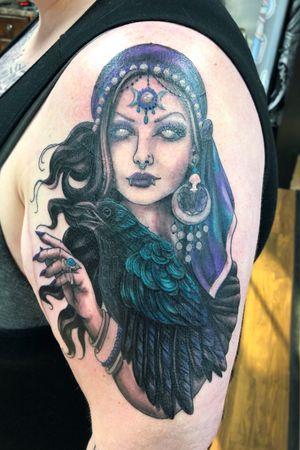Custom Gypsy woman designed and tattooed by Danie Carter