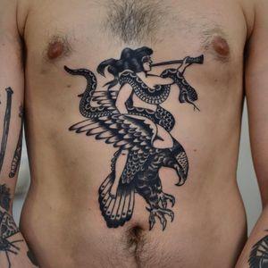Tattoo by Florian Santus #FlorianSantus #pinuptattoos #pinup #lady #babe #girl #traditional #blackwork #snake #eagle #horn