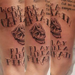 Freehand leg piece done at the ottawa tattoo show #pirate #skull #script