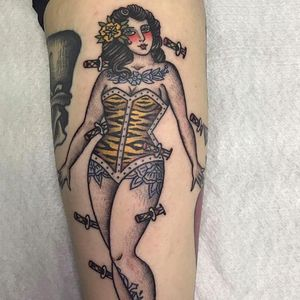 Tattoo by Sonia Cash #SoniaCash #pinuptattoos #pinup #lady #babe #girl #traditional #color #daggers