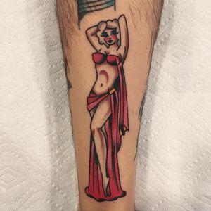 Tattoo by Akira Latanzio #akiralatanzio #pinuptattoos #pinup #lady #babe #girl #traditional #color