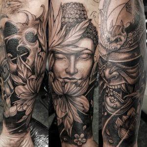 Japanese smauri and buddha half sleeve