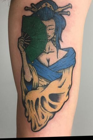 Tattoo of a sticker the client got from Japan