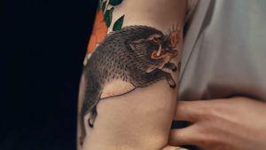 Boar tattoo by Chris Garver #ChrisGarver #TaikiMasuda #Japanese #Japanesetattooing #residentartists #thetattooshop #miami #wynwood #tvseries #facebookwatch #boar #color #wildboar #pig #flower