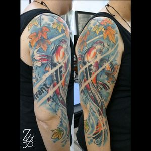 La carpe koi Butterfly est cicartrisée. :) #carpe #carpekoi #koi #koifishtattoo #koicarp #koicarptattoo #longfinkoi #erable #acer #acerleaves #watertattoo #neojapanese #neojapansetattoo #graphic #graphicdesign #graphictattoo #graphicdesigntattoo #colortattoo #watercolortattoo #watercolor #tattoo #tatouage #zeldabjj #zeldablackjeanjacques #colmartattoo #alsacetattoo #frenchtattoo