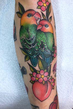 Love birds on forearm