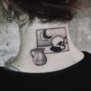 Tattoo by Stick and Choke #StickandChoke #favoritetattoos #favorites #best #besttattoos #dotwork #skull #death #moon #vase #illustrative