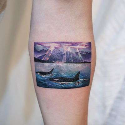 Tattoo by Dam Mad #DamMad #favoritetattoos #favorites #best #besttattoos #watercolor #painterly #photorealism #orca #killerwhale #whale #ocean #sky #landscape #color