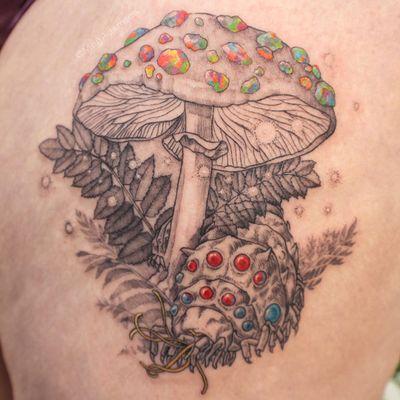 Tattoo by Meg Adamson #MegAdamson #favoritetattoos #favorites #best #besttattoos #illustrative #mushroom #ohmu #insect #nausicaa #studioghibli #leaves #nature #gems #sparkle #anime #manga