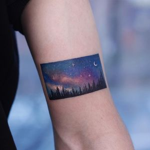 Tattoo by Saegeem #Saegeem #favoritetattoos #favorites #best #besttattoos #watercolor #painterly #photorealism #sky #landscape #color #forest #trees #stars #moon
