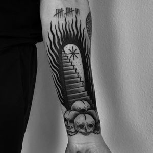 Tattoo by Laura Yahna #LauraYahna #blackwork #darkart #illustrative #stairs #skull #death #fire
