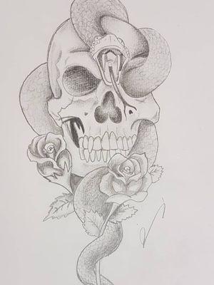 #skull #skulldrawing#skullart #snake #sketch #sketchstyle #drawings #rose
