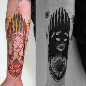 Tattoo by Laura Yahna #LauraYahna #blackwork #darkart #illustrative #portrait #fire #stars #thistle #flower #floral #plant #nature
