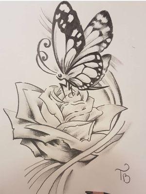 #butterfly #flower #rose #sketch #sketchstyle #drawings