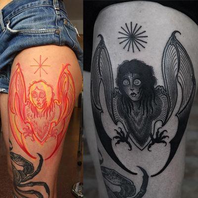 Tattoo by Laura Yahna #LauraYahna #blackwork #darkart #illustrative #bat #animal #deity #wings #harpy #ladyhead #lady