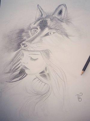 #wolf #wolfwoman #womansface #sketch #sketchstyle #drawings