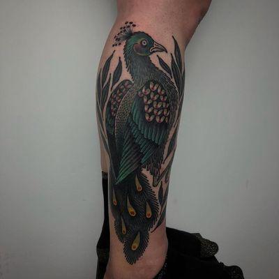 Tattoo by Laura Yahna #LauraYahna #blackwork #darkart #illustrative #color #feathers #birds #wings #peacock #animal #nature