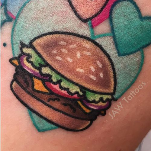 Tattoo by Jess White #JessWhite #foodtattoos #foodtattoo #food #eat #burger #color #newschool