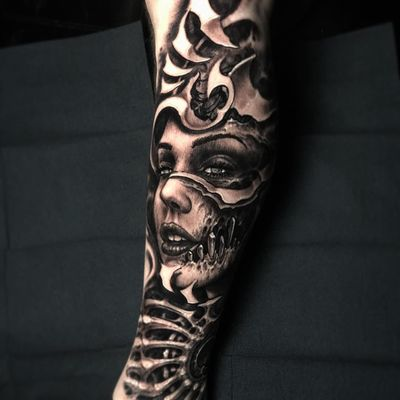 Tattoo by Jeremiah Barba #JeremiahBarba #darkarttattoos #darkart #evil #horror #dark #blackandgrey #biomechanical #HRGiger #portrait #lady #ladyhead #realism #realistic