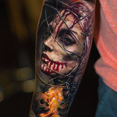 Tattoo by Yomico #Yomico #darkarttattoos #darkart #evil #horror #dark #realism #realistic #portrait #ladyhead #blood #skull