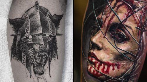 Tattoo on the left by Christopher Jade and tattoo on the right by Yomico #ChristopherJade #Yomico #darkarttattoos #darkart #evil #horror #dark