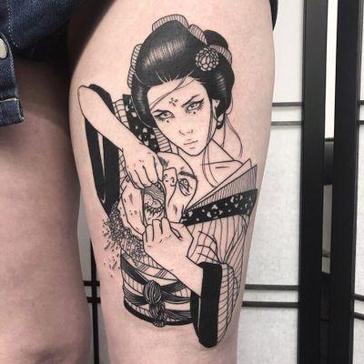Tattoo by Silly Jane #SillyJane #darkarttattoos #darkart #evil #horror #dark #blackwork #NeoJapanese #Japanese #illustrative #linework #severedhead #geisha #kimono