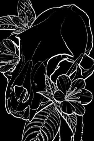 Cat skull #skulls #catskull #flowers
