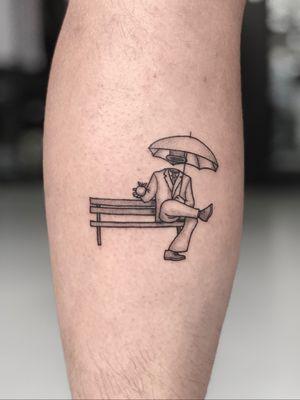 Man on bench #man #apple #bench #sitting #magritte #surrealism #darksurrealism #fineline #dotwork #suit