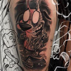 Tattoo by Anrijs Straume #AnrijsStraume #darkarttattoos #darkart #evil #horror #dark #couragethecowardlydog #cartoonnetwork #cartoon #dog