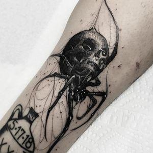 Tattoo by Brandon Herrera #BrandonHerrera #darkarttattoos #darkart #evil #horror #dark #spider #llustrative #skull #spiderweb