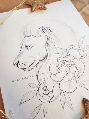 #lion #sketch #sketching #aillitasketches #sketchart #tattoosketch #lionart #lionandflowers #flowerssketch #peonies