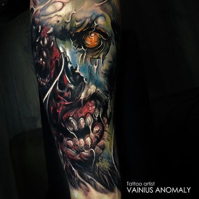 Tattoo by Vainius Anomaly #VainuisAnomaly #darkarttattoos #darkart #evil #horror #dark #color #zombie #skull #death