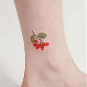 Tattoo by Saegeem #Saegeem #foodtattoos #foodtattoo #food #eat #color #watercolor #cranberries #berry
