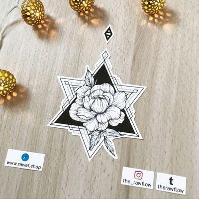 Small and elegant peony with deep contrast. Download: www.rawaf.shop/tattoo Follow for more on Instagram: @the_rawflow #flower #flowers #peony #dotwork #blackwork #geometric #triangle #mandala