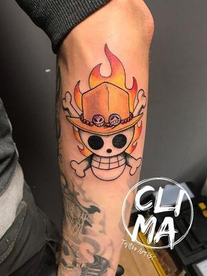 One piece!  #tattoo #tattoos #tattoostyle #tattooskull #tattooonepiece #onepiecetattoo #rufy #acetattoo #onepiece #ink #inked #tattooart #anime #animetattoo #animetattoos #animetattooartist #color #colorink