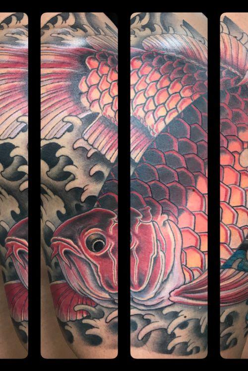 Half sleeve Arawana fish #Japanesetattoo#japanesesleeve #DavisStreetTattoo #MarkThompson #DallasTattooShop #DallasTattooArtist